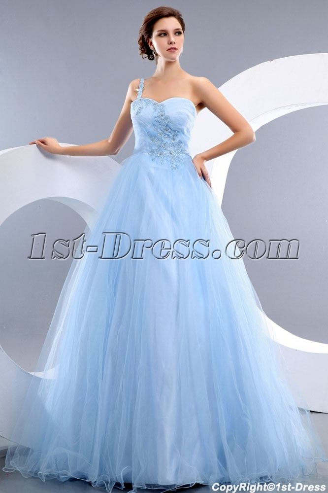 85e338041d Cheap Romantic Blue One Shoulder Tulle Quinceanera Dress 1st-dress.com