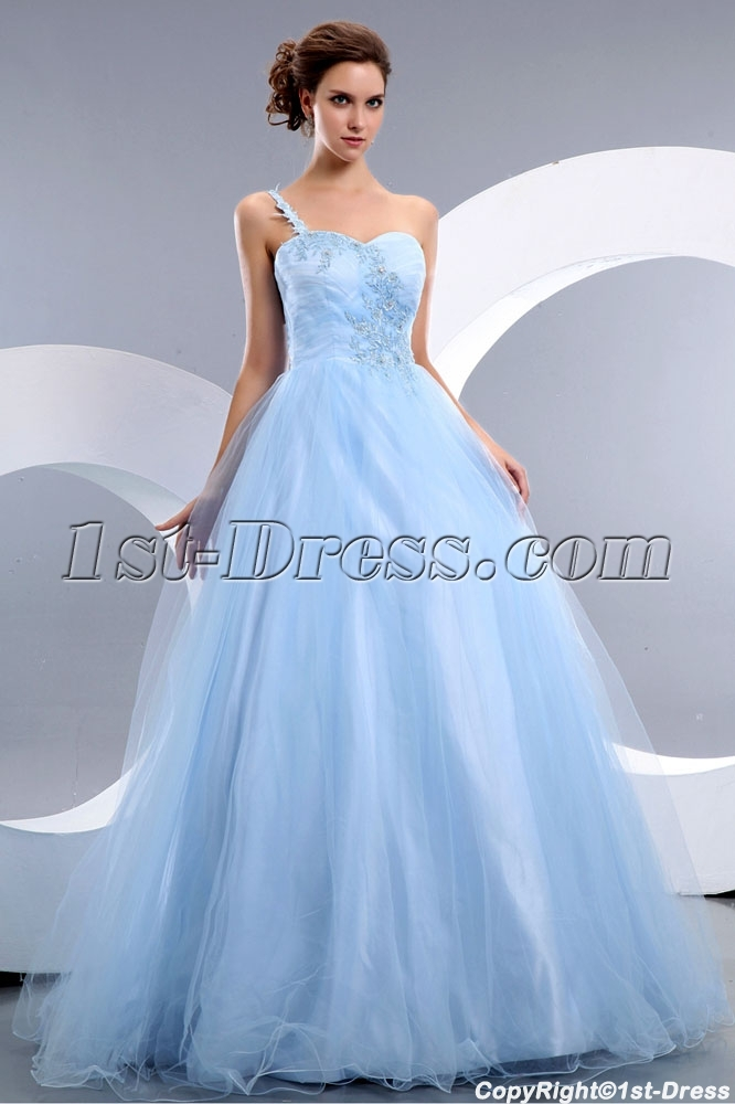 57c16c24534 Cheap Romantic Blue One Shoulder Tulle Quinceanera Dress (Free Shipping)