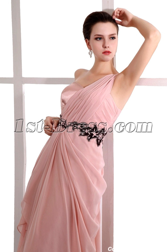 ... Coral One Shoulder Long Graduation Dresses for High School 2013