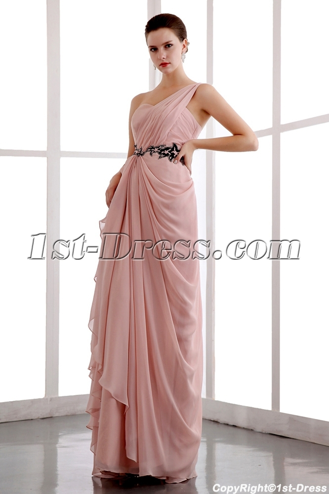 Romantic Coral One Shoulder Long Graduation Dresses for High School 2013