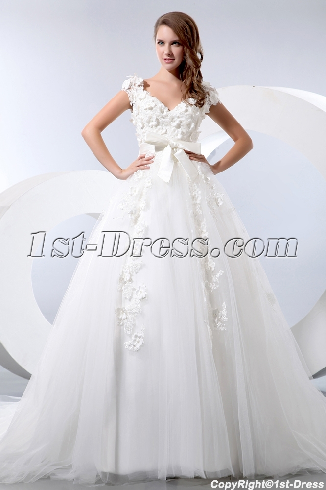 Romantic Floral Queen Anne Princess Wedding Dress with Cap Sleeves ...