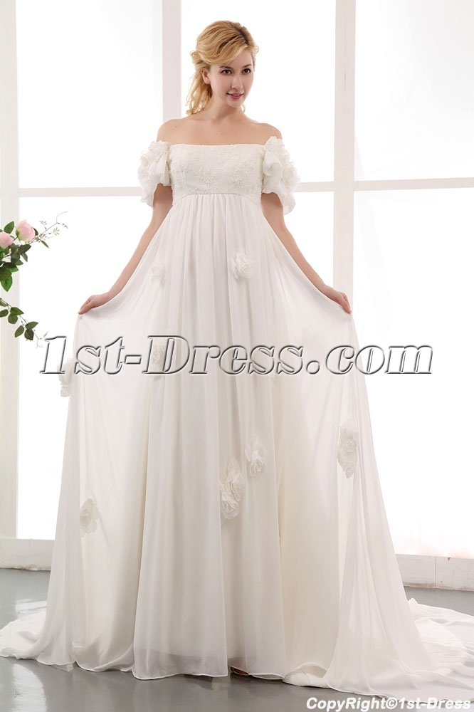Romantic Off Shoulder Floral Chiffon Bridal Gowns with Train:1st ...