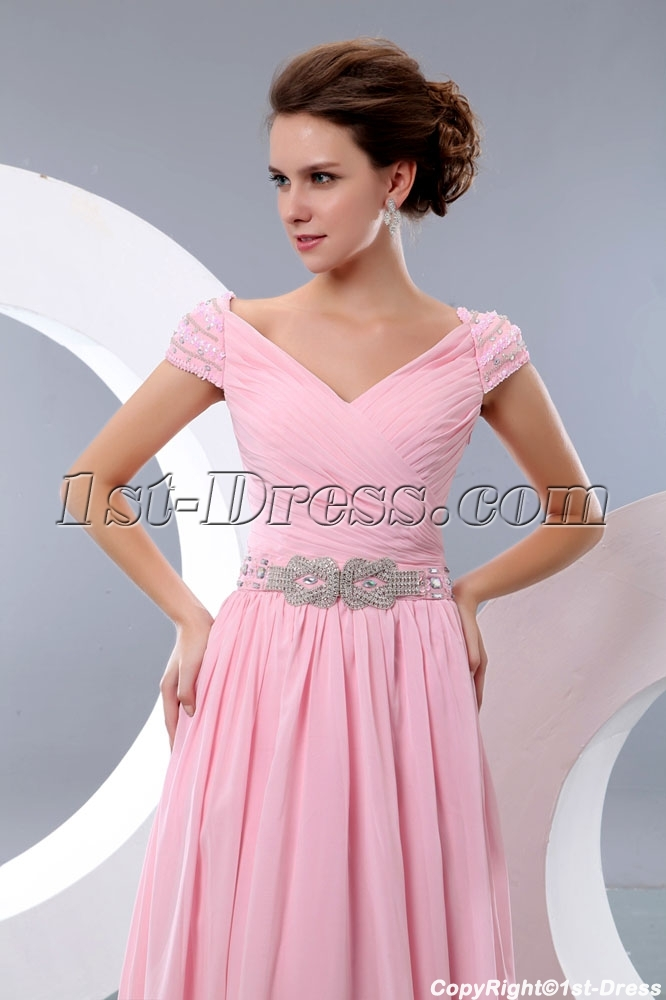 Romantic Pink Off Shoulder Evening Dress With Cap Sleeves