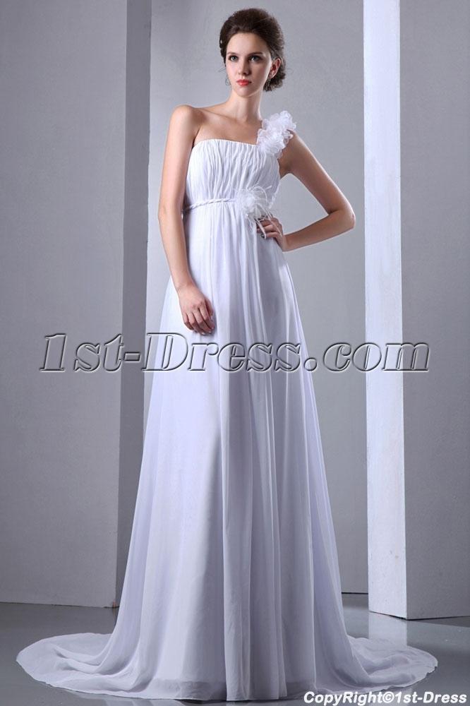 Romantic plus size chiffon empire one shoulder bridal for Plus size one shoulder wedding dress