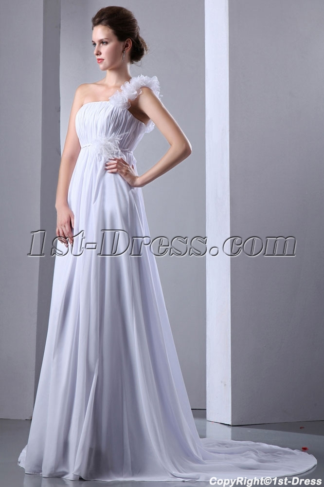 7654fbe948a Romantic Plus Size Chiffon Empire One Shoulder Bridal Gowns (Free Shipping)
