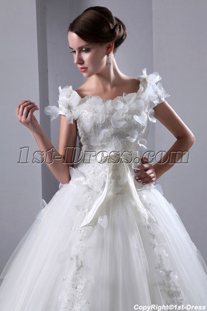 Romantic Square Neckline Short Sleeves Ball Gown Wedding Dress1st