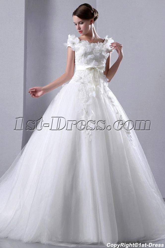 Romantic Square Neckline Short Sleeves Ball Gown Wedding Dress:1st ...