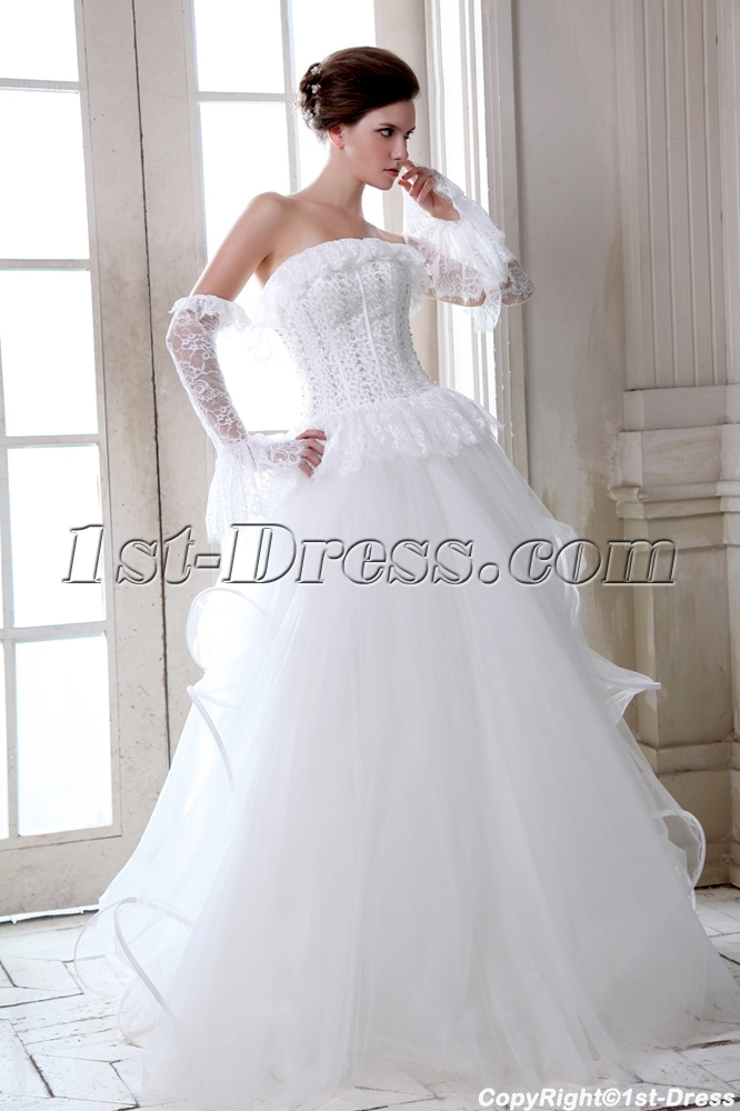 Romantic Strapless Gothic Lace Wedding Dresses 2014:1st-dress.com