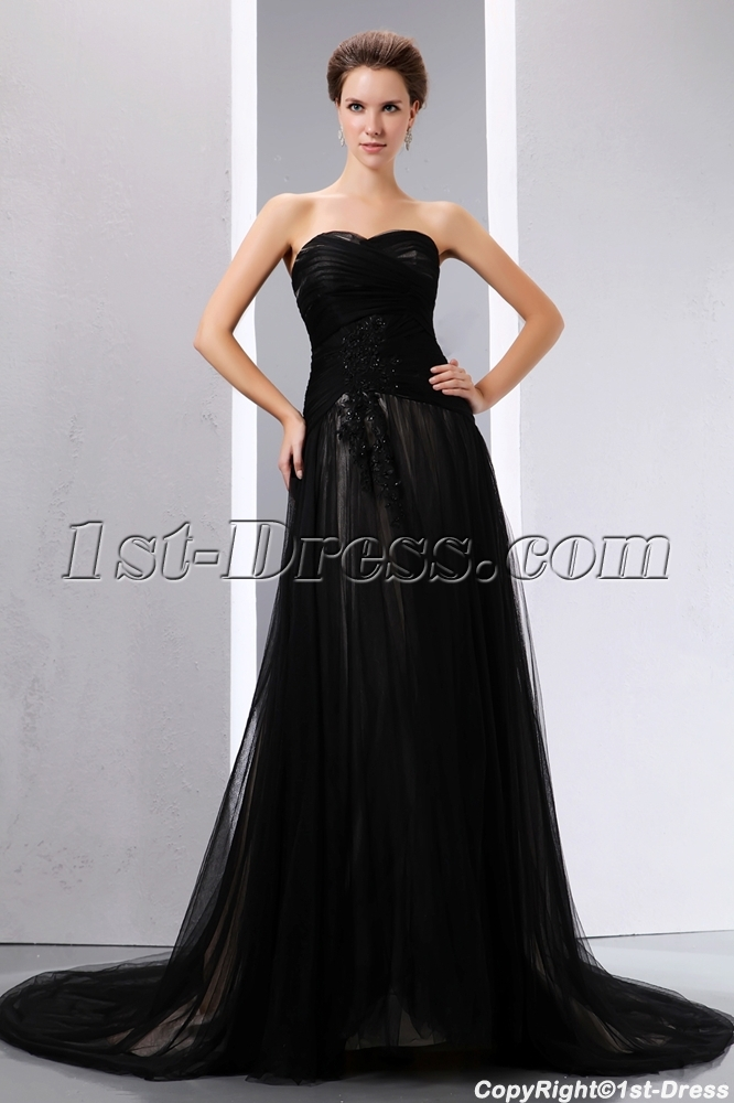 Romantic Sweetheart Black Tulle Black Wedding Dress With