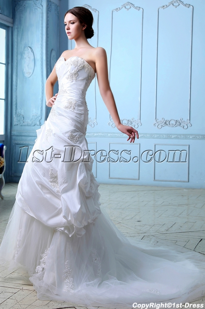 Romantic Taffeta Lace up Wedding Dresses Melbourne:1st-dress.com