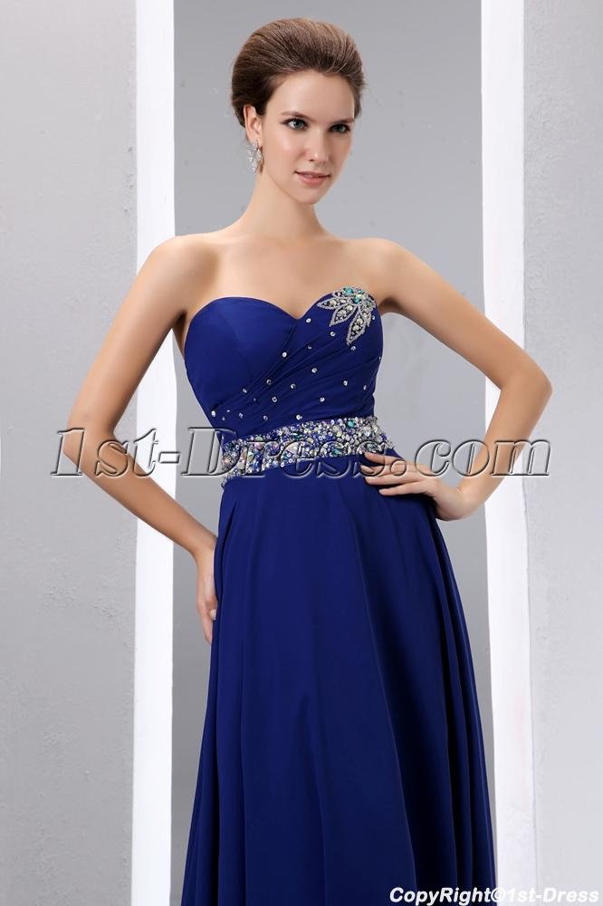 Royal Blue A-line Long Chiffon Evening Dress 2014 for Spring:1st ...