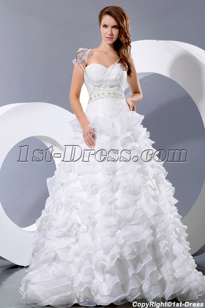 Ruffled Unique Cinderella Bridal Gowns with Basque:1st-dress.com