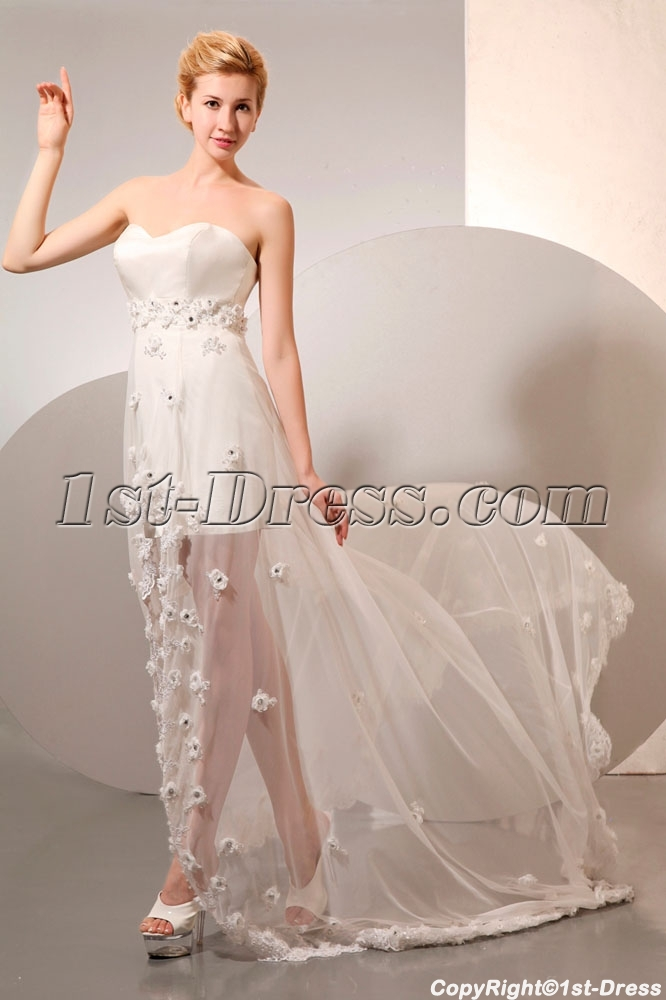 Sexy high low summer chiffon beach wedding dress 1st for Sexy high low wedding dresses