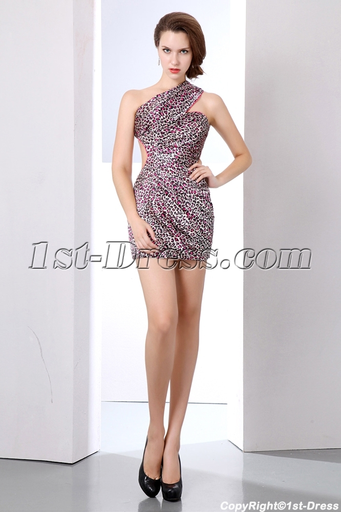 Sexy Leopard Open Back Mini Cocktail Dress with One Shoulder:1st ...