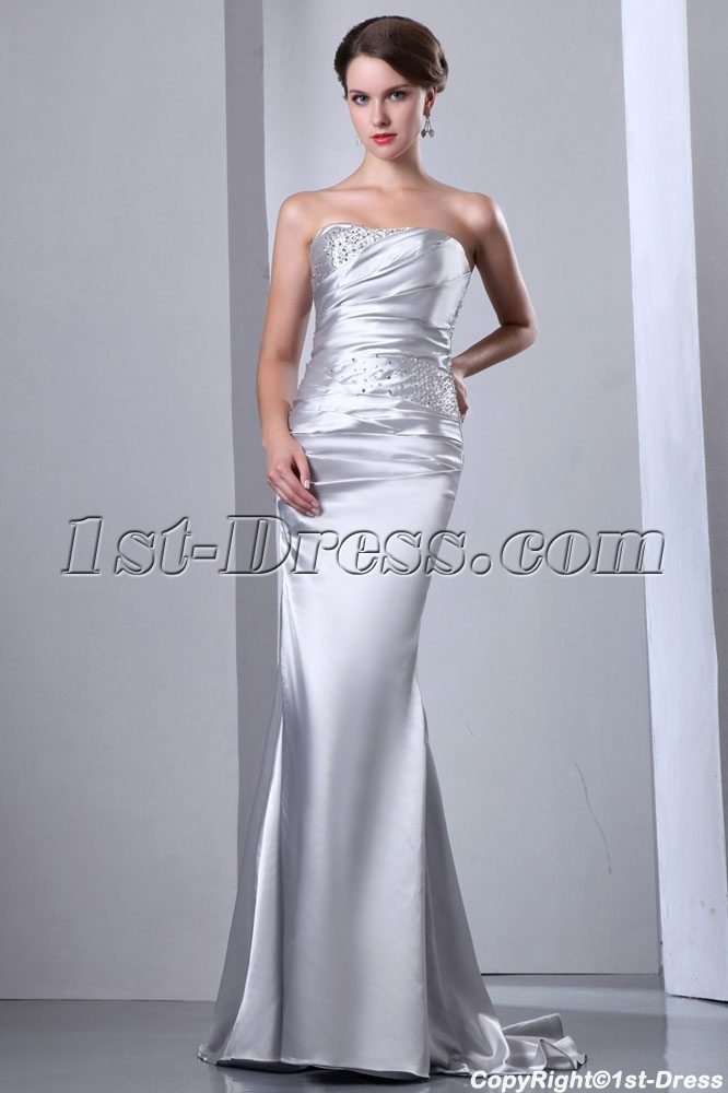 Sheath Silver Sweetheart Evening Dress Cheap with Croset:1st-dress.com