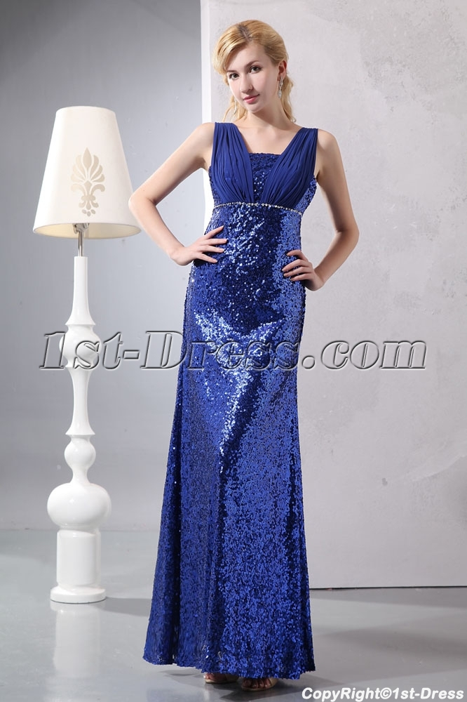 7057b0eb Shining Royal Blue Sequins Evening Dress for Plus Size:1st-dress.com