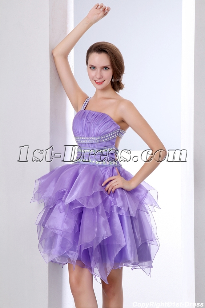Short Lavender Ruffled Cocktail Dresses with Cross-Straps Back:1st ...
