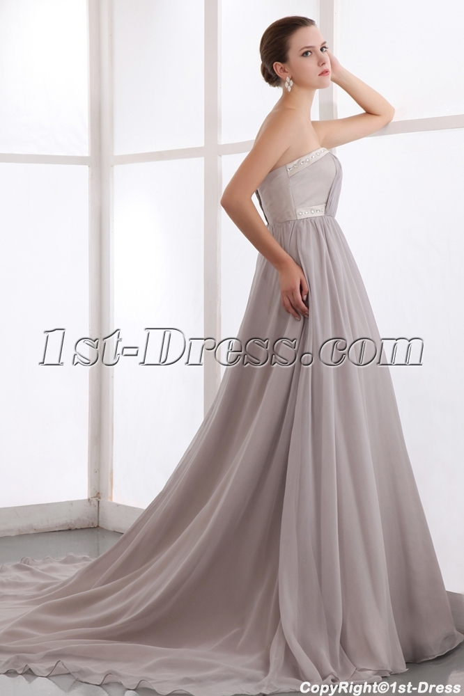 Silver Gray Long Plus Size Evening Dress with Train:1st-dress.com
