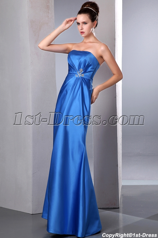 Simple Blue Empire Waist Sheath Satin Plus Size Evening Dress:1st ...