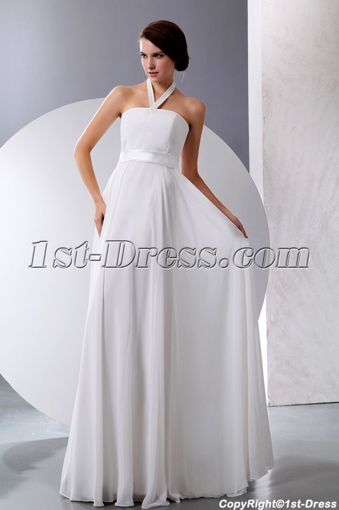 Simple Halter Summer Chiffon Maternity Wedding Dresses. Loading Zoom