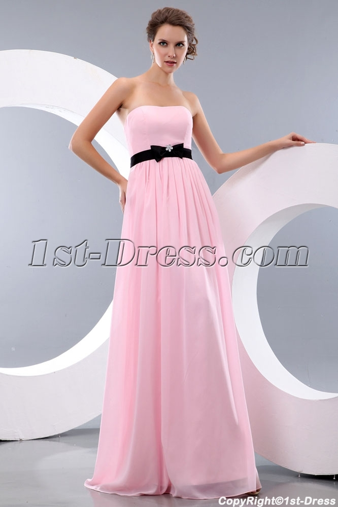 Simple pink and black long chiffon bow beach bridesmaid for Black and pink wedding dress
