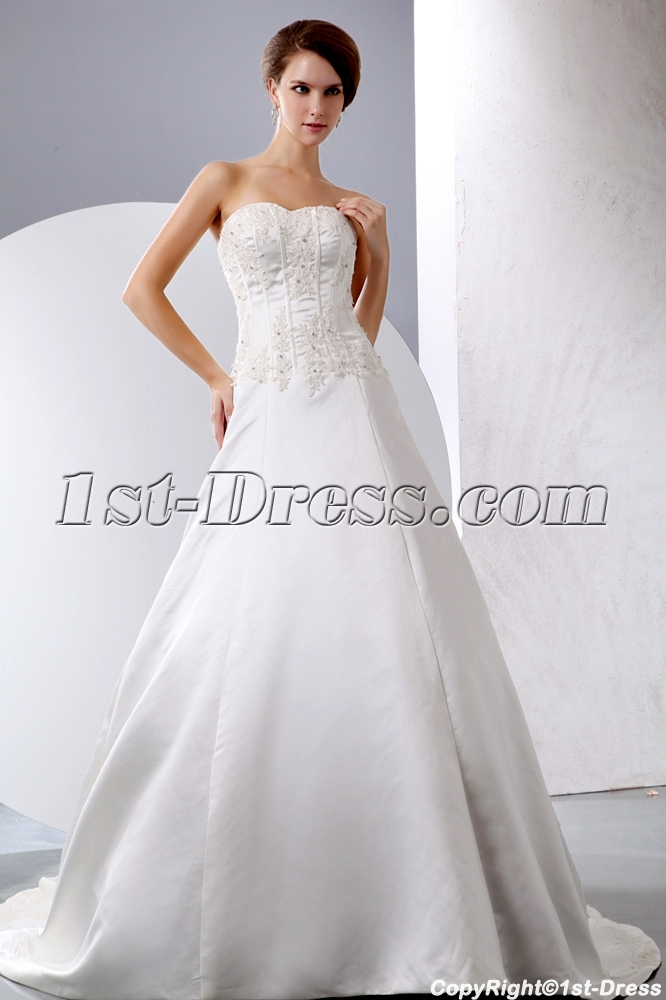 Simple satin mature bridal gown for second wedding 1st for Simple second wedding dresses