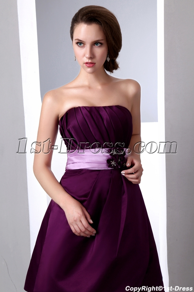 Simple Short Grape Satin Bridesmaid Dresses