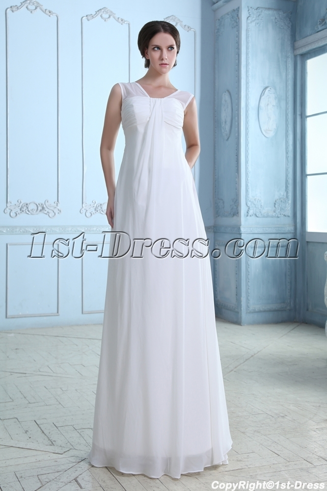 Simple Soft Chiffon Long Mature Bridal Gown:1st-dress.com