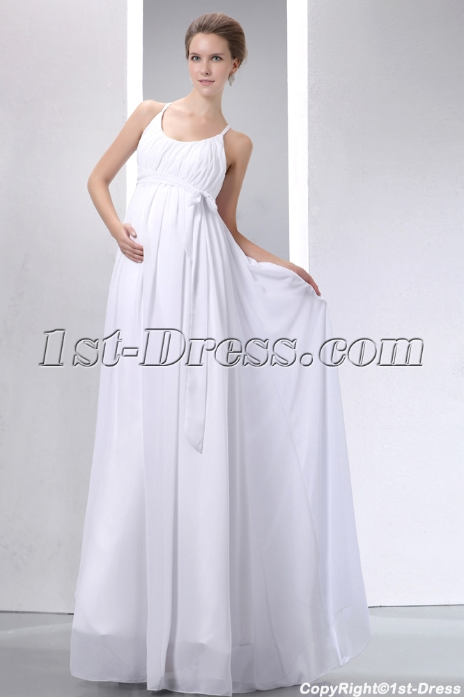 Simple straps ivory chiffon pregnant bridal gown 1st for Plain wedding dresses with straps