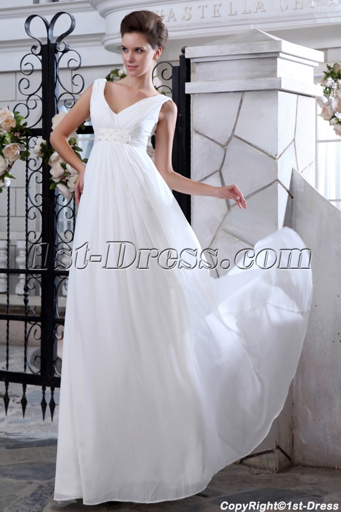 Simple V-neckline Chiffon Empire Maternity Wedding Dresses1st-dress.com