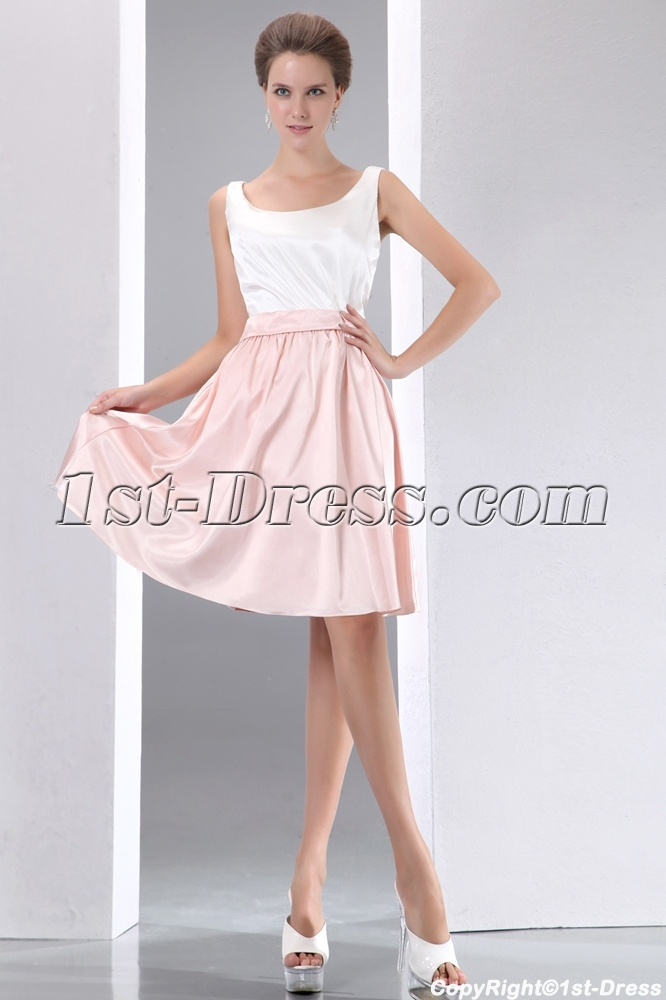 simple white and pink short homecoming dress1stdresscom