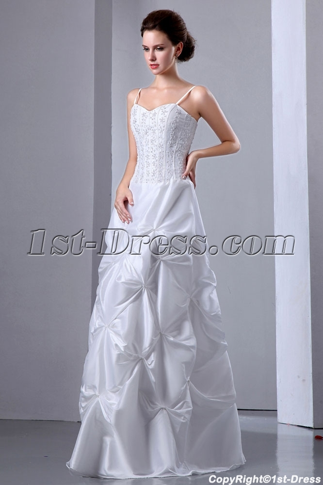 Spaghetti Straps Embroidery Cheap Summer Wedding Dress With Pick Up1st Dress