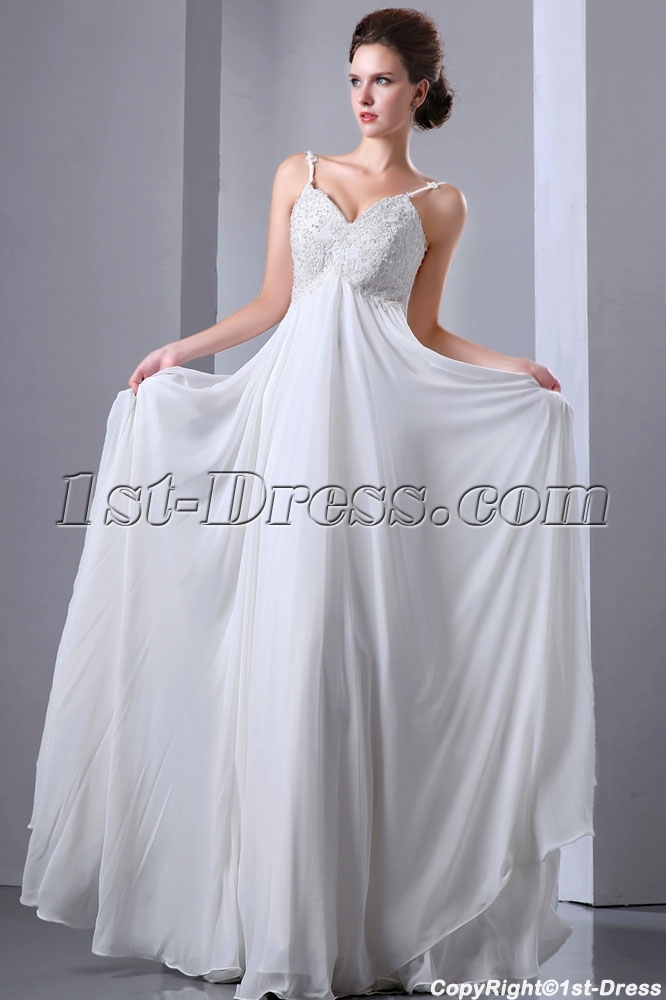 Spaghetti Straps V Neckline Chiffon Long Spring Pregnant Bridal Dress Loading Zoom