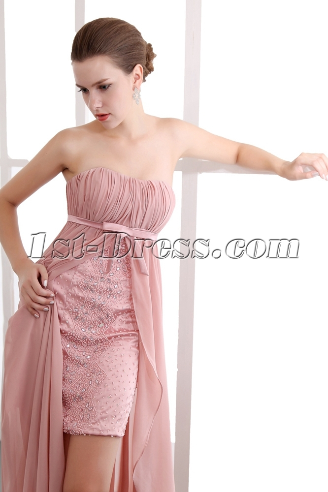 Special Coral Empire Waist High-low Prom Dresses:1st-dress.com