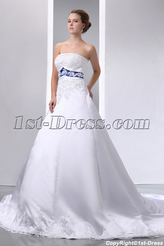 Special Elegant Ivory And Royal Blue Satin A Line Wedding Dress
