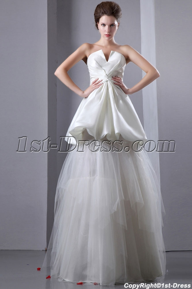 Special informal wedding gowns with pick up skirt 1st for Pick up skirt wedding dresses