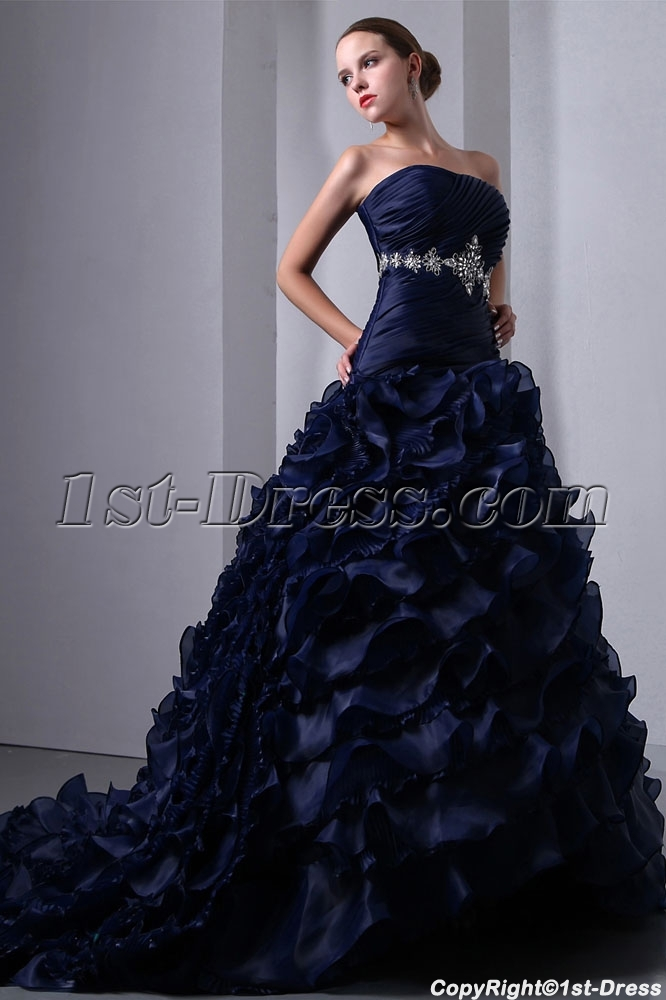 Special Navy Blue Organza Ruffled Bridal Gown 2014 Corset:1st-dress.com