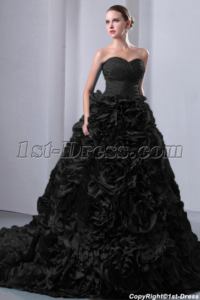 Special Vampire Black Floral Wedding Dresses 2014:1st-dress.com