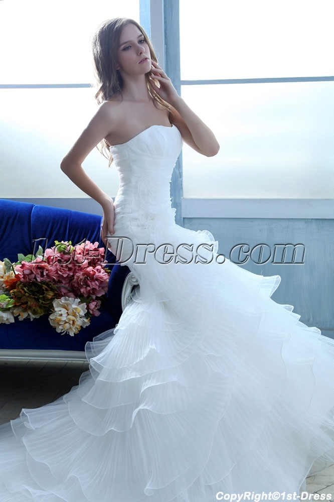 Spring Layered Long Mermaid Wedding Dresses 2014 With