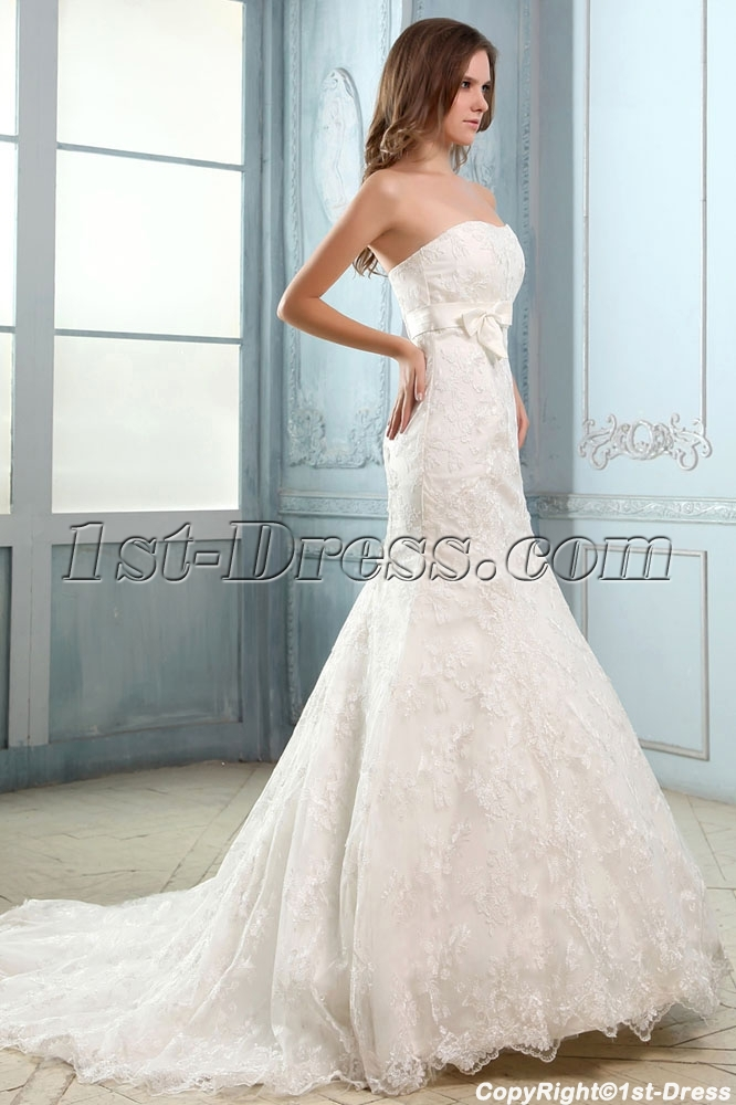 Strapless Sweetheart Lace Mermaid Wedding Dresses Vintage