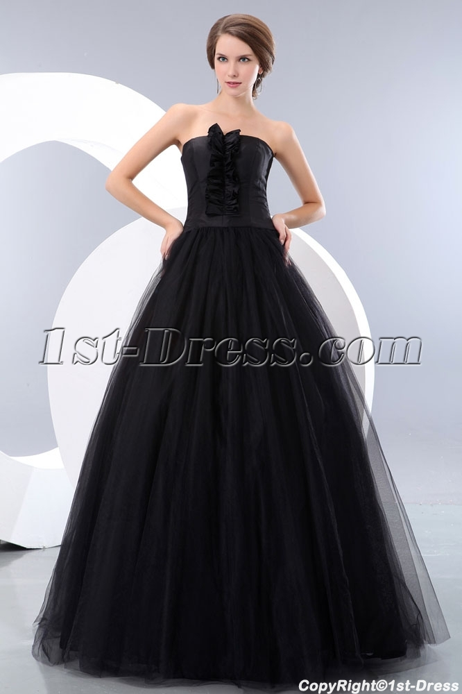 Strapless Tulle Black Quinceanera Dress For Full Figure