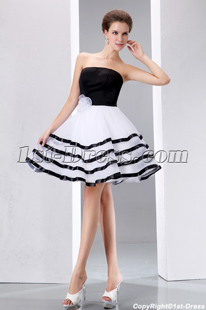 Black And White Short Prom Dresses - Holiday Dresses