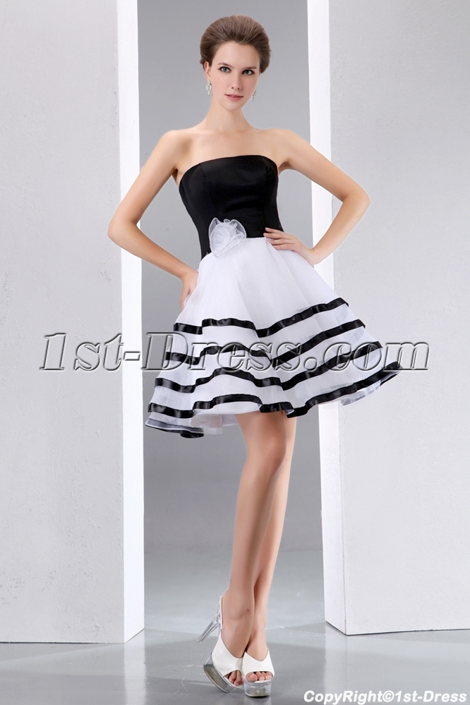 Stunning Black And White Short Formal Dresses1st Dress