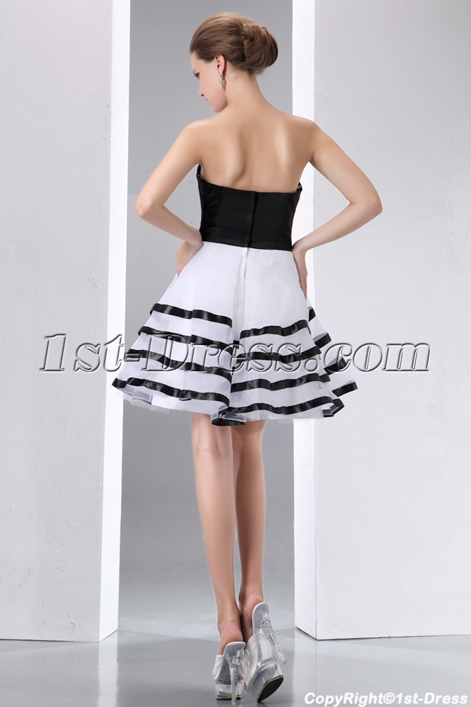 d2f9f9d10e7 prev; next. Specifications. Product Name: Stunning Black and White Short  Formal Dresses. ltem Code: xl004119. Category: Prom Dresses>Short Prom  Dresses