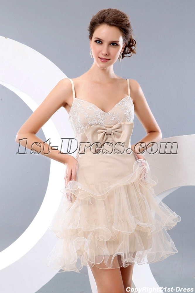 Sweet Champagne Military Short Prom Dresses:1st-dress.com