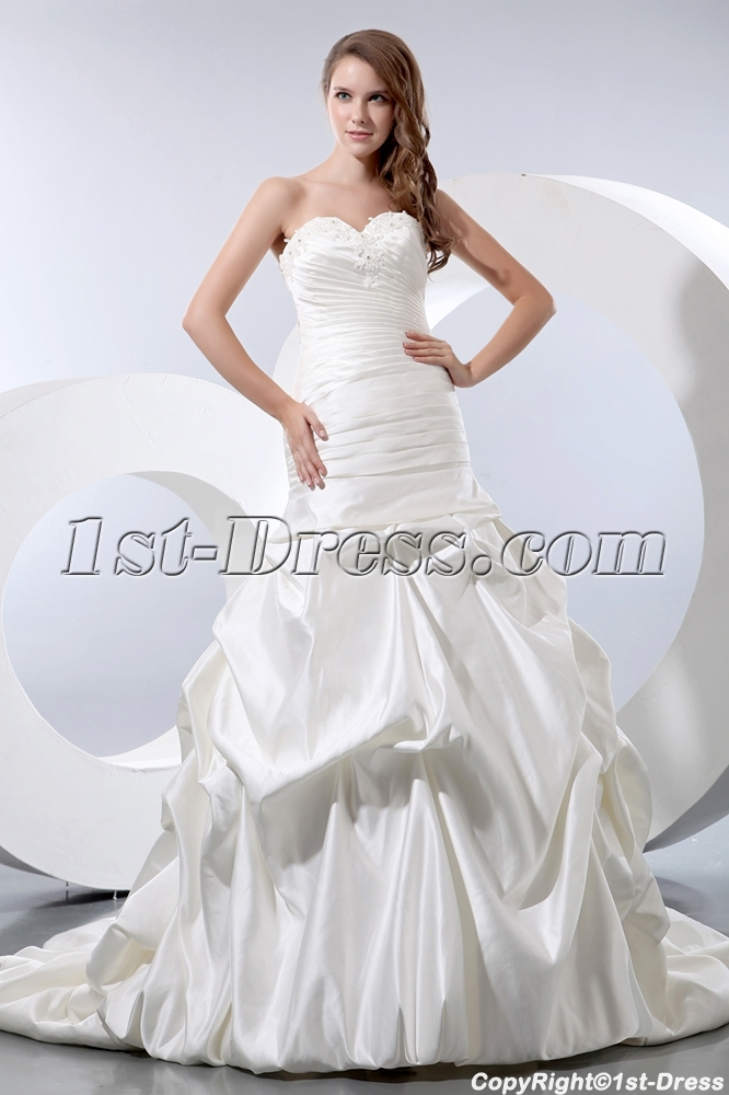 Sweet Sheath Fishtail Bridal Gown 2013 with Lace up:1st-dress.com