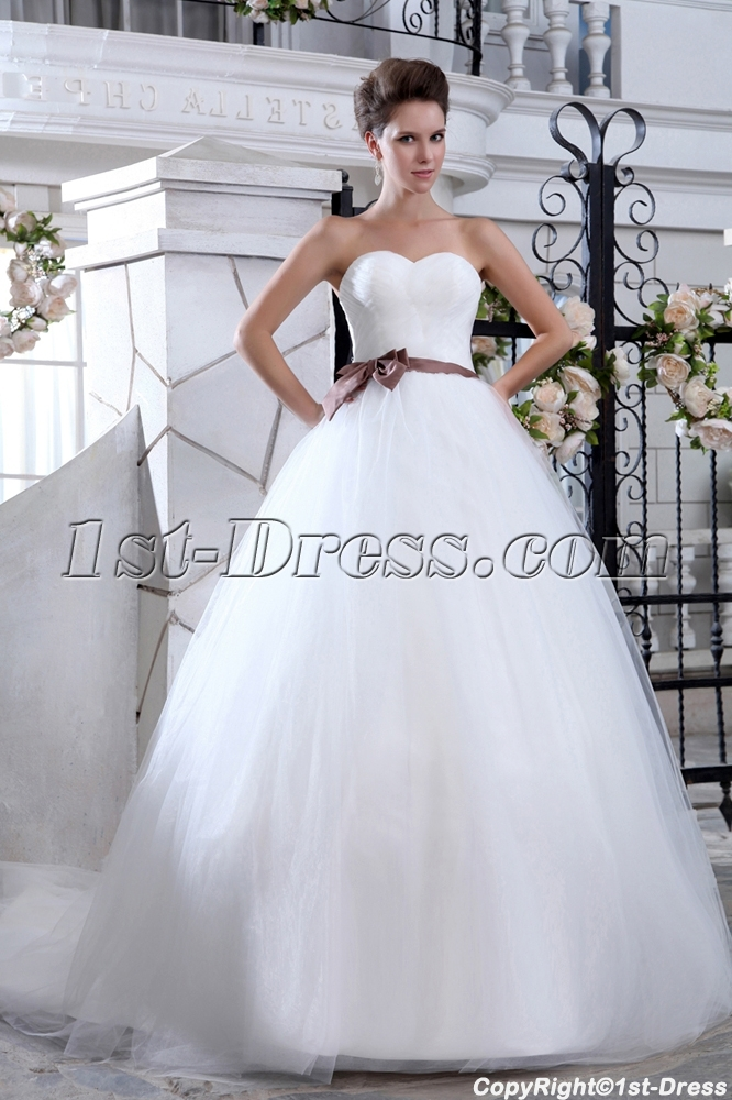 Sweetheart Ball Gown Tulle Wedding Dress Princess:1st-dress.com
