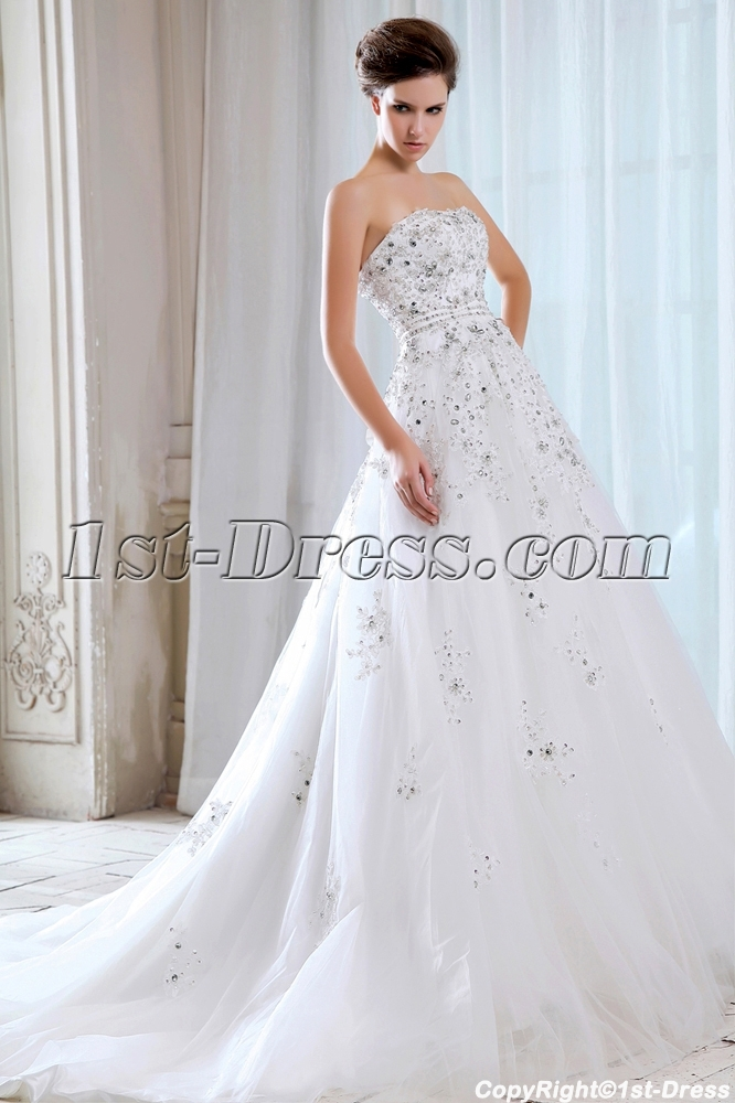 Sweetheart Luxury Celebrity 2014 Bridal Gowns with Corset:1st-dress.com