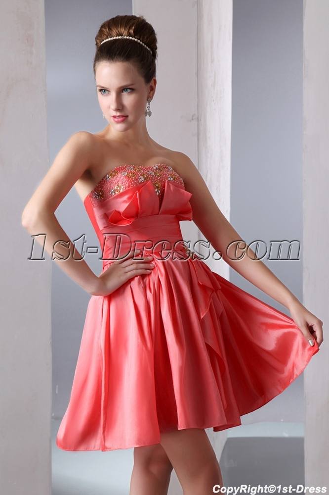 Taffeta Strapless A-line Short Junior Prom Dress