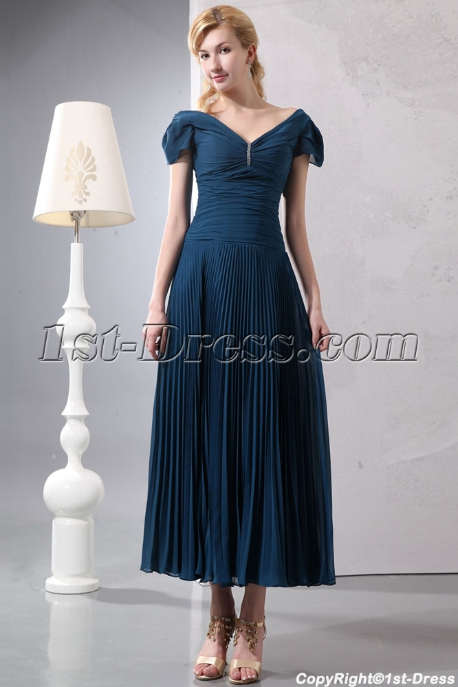 Teal Blue Romantic Tea Length V Neckline Formal Evening Dress With